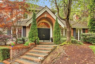 Contemporary room with Traditional double front doors, Partial brick exterior, Paint 1