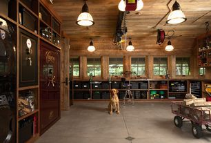 Craftsman Garage with Concrete floors, flush light, Built-in bookshelf, Superior gun safe, specialty door, Standard height