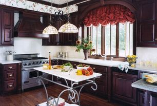 Country Kitchen with Framed Partial Panel, electric cooktop, Wall Hood, Pendant light, full backsplash, Raised panel