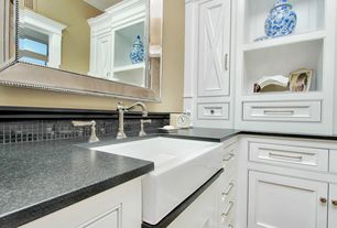Traditional Master Bathroom with Master bathroom, Randolph morris 30 x 18 fireclay farmhouse sink, Large Ceramic Tile, Flush
