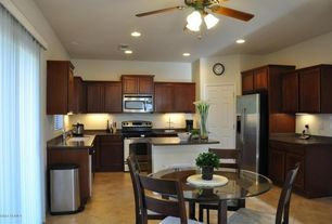 Modern Kitchen with gas range, U-shaped, Undermount sink, Acme Round Coffee Table, Standard height, Framed Partial Panel