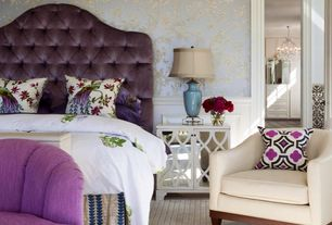 Traditional Master Bedroom with Carpet, Brushed Silvertone Mirrored 32-inch Accent Table, Purple Tufted Headboard