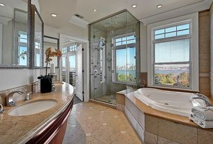 Traditional Master Bathroom with Master bathroom, Crown molding, Handheld showerhead, Limestone, Double sink, Undermount sink