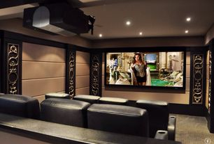 Contemporary Home Theater with can lights, Box ceiling, Conway designscape - acoustic wall panels, rebound series, Carpet