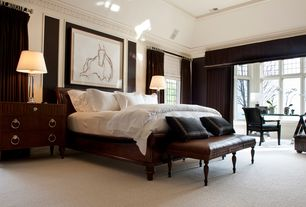 Contemporary Master Bedroom with Restoration hardware carlton leather club ottoman, Bay window, Carpet, High ceiling