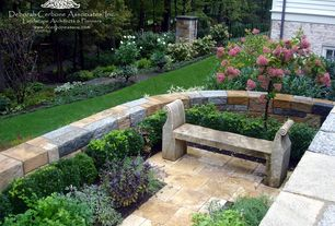 Traditional Landscape/Yard with exterior stone floors, Fence, Pathway