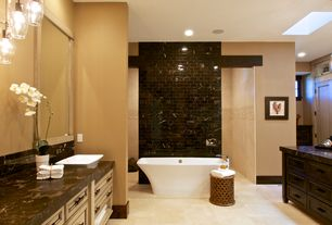 Contemporary Master Bathroom with Master bathroom, stone tile floors, pental champion brown polished marble, Wall Tiles