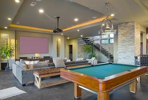 Contemporary Game Room with Silks Are Forever 6' Fiddle Leaf Fig Silk Tree w/Pot, ELK Lighting Chadwick 1-Light Pendant