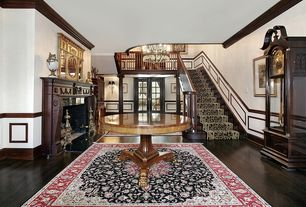 Traditional Entryway with French doors, Armstrong Flooring - Northern Red Oak in Blackened Brown, Standard height, Chair rail