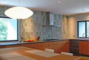 Modern Kitchen with L-shaped, Soapstone counters, Flush, Kitchen island, European Cabinets, Pendant light
