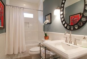Modern Full Bathroom with Wall sconce, round mirror, Wall Tiles, curtain showerdoor, tiled wall showerbath, Console sink