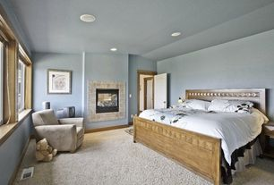 Modern Guest Bedroom with Carpet, stone fireplace
