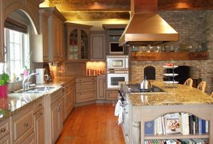 Eclectic Kitchen with full backsplash, Frameless, Fireplace, Simple granite counters, double bowl undermount sink, gas range