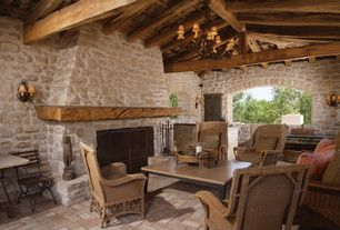 Mediterranean Patio with exterior tile floors, Wrap around porch