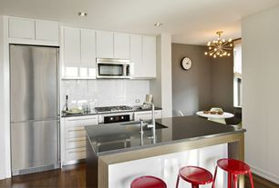 Contemporary Kitchen with Laminate floors, flush light, Breakfast nook, European Cabinets, Flush, One-wall, Undermount sink