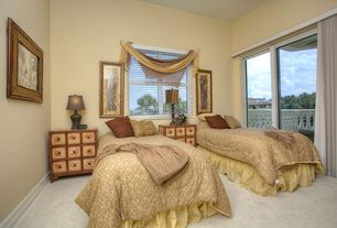 Tropical Guest Bedroom with High ceiling, Glass panel door, Carpet