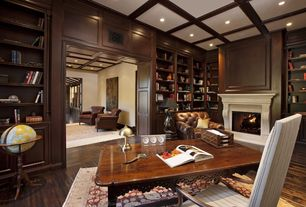 Traditional Home Office with Box ceiling, Wainscotting, Cement fireplace, Fireplace, Chair rail, Crown molding, can lights