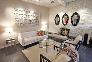 Contemporary Living Room with soapstone tile floors, metal fireplace, Exposed beam, flush light