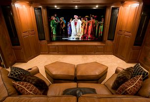 Traditional Home Theater with Built-in bookshelf, Carpet, High ceiling