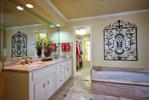 Traditional Full Bathroom with Complex Marble, flush light, Crown molding, Stained glass window, complex marble floors