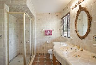 Eclectic Full Bathroom with terracotta tile floors, Kohler vintage self rimming bathroom sink with soliloquy design in white