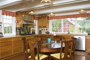 Country Kitchen with Flat panel cabinets, Cathedral ceiling, Exposed beam, Pendant light, Inset cabinets