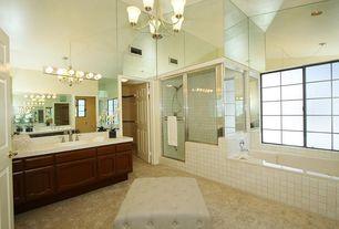 Modern Master Bathroom with Handheld showerhead, Kichler Lighting - 6 Light Bathroom Light, Large Ceramic Tile, Carpet