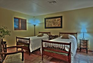 Tropical Guest Bedroom with Standard height, terracotta tile floors, Carpet