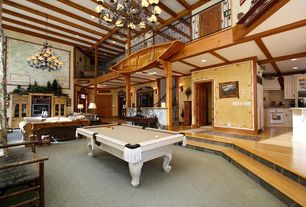 Craftsman Game Room with Loft, Carpet, Sunken living room, High ceiling, Chandelier, Exposed beam