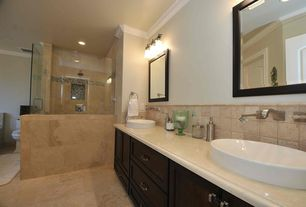 Traditional Full Bathroom with Rain shower, Milforde semi-recessed sink, frameless showerdoor, Drop-in sink, Shower