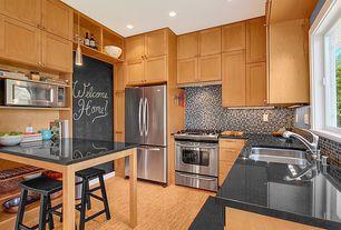 Contemporary Kitchen with gas range, Flush, Multiple Refrigerators, Standard height, Absolute black granite, flush light