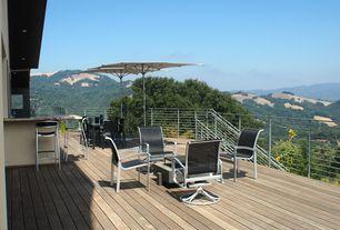 Modern Deck with Deck Railing, Outdoor kitchen, picture window