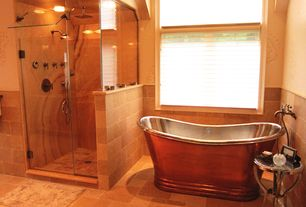 "Rustic Master Bathroom with Copper tub, Signature hardware 71"" morgan hammered copper double-slipper tub, flush light"
