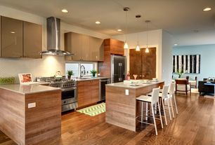 Contemporary Kitchen with Cambridge light green/ivory 2 ft. x 3 ft. area rug, Breakfast bar, Kitchen island, Pendant light