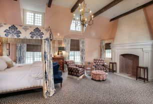 Eclectic Master Bedroom with Chandelier, French doors, Exposed beam, Carpet, High ceiling