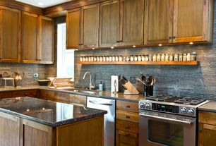 Craftsman Kitchen with European Cabinets, gas range, Lipper International Bamboo Dish Rack, full backsplash, Standard height