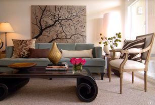 Contemporary Living Room with Black Scroll Coffee Table, Era Interiors Custom Neoclassical Arm Chair, Carpet