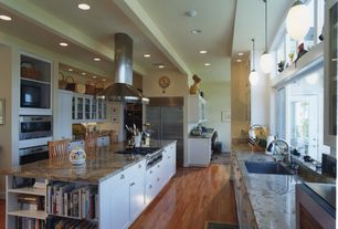 Contemporary Kitchen with Complex granite counters, Kitchen island, Flat panel cabinets, Exposed beam, European Cabinets