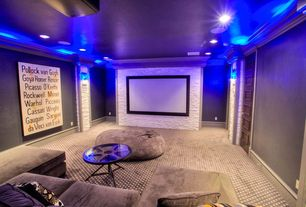 Contemporary Home Theater with Standard height, can lights, Paint, specialty door, Carpet