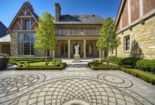 Traditional Landscape/Yard with French doors, exterior stone floors, Pathway