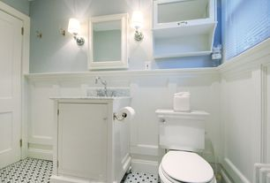 Traditional Full Bathroom with picture window, Powder room, Flat panel cabinets, Console sink, partial backsplash