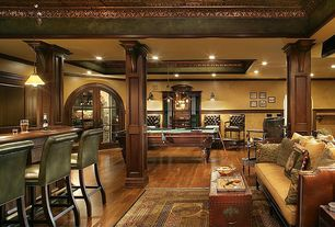 "Traditional Basement with Chair rail, Harry's scrollwork - copper ceiling tile - 24""x24"" - #1219, Hardwood floors, Columns"