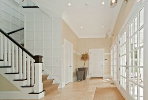 Craftsman Entryway with Natural stone collection crema marfil 12 in. x 12 in. marble floor