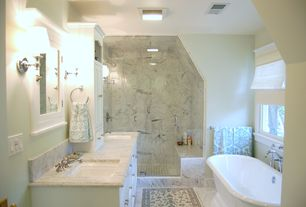 Traditional Master Bathroom with flush light, Flat panel cabinets, Double sink, Double ended pedestal bathtub, Freestanding