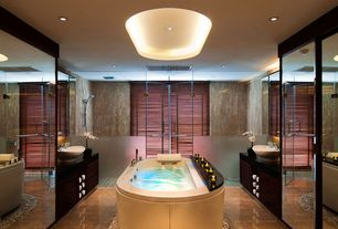 Contemporary Master Bathroom with European Cabinets, Flush, frameless showerdoor, Handheld showerhead, Freestanding, Skylight