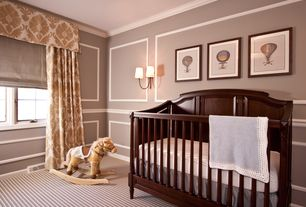 Traditional Kids Bedroom with Chair rail, specialty window, Foundations folding crib, Paint, Carpet, Standard height, Paint 2