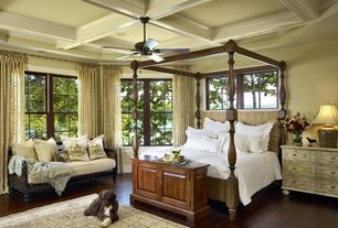 Traditional Master Bedroom with Box ceiling, Ceiling fan, Hardwood floors