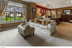 Traditional Master Bedroom with Slipcovered sofa, double-hung window, can lights, Paint 2, Carpet, Standard height, Paint 1