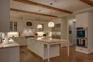 Traditional Kitchen with Custom hood, U-shaped, Frigidaire Built-In Wall Oven, Flush, Flat panel cabinets, Exposed beam