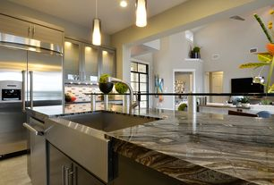 Contemporary Kitchen with Cabot porcelain tile - gemma stone series sand